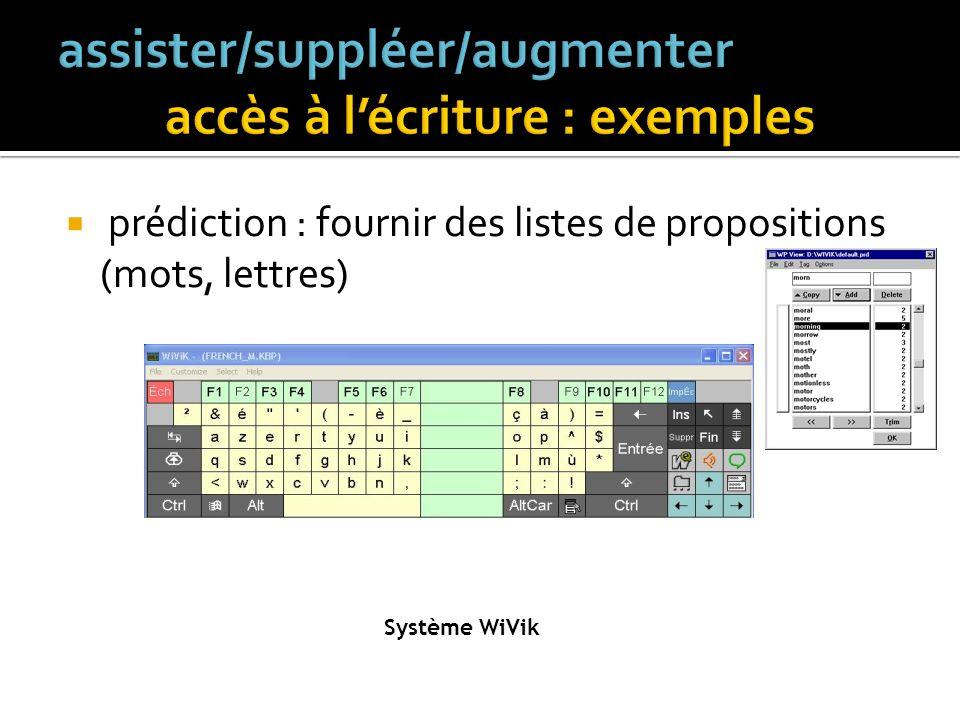 claviers virtuels divers logiciels spécialisés (RapiText, HandiWord, Prophet, ….)