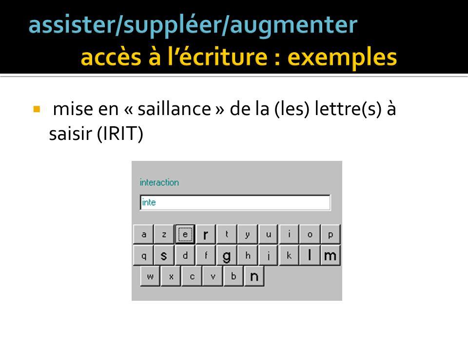 configuration automatique de la disposition des touches SibyLettre [Schadle 2001] Lutilisateur souhaite écrire le mot compter