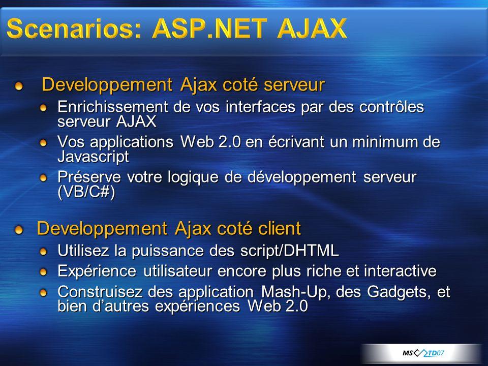 Developpement Ajax coté serveur Developpement Ajax coté serveur Enrichissement de vos interfaces par des contrôles serveur AJAX Vos applications Web 2.0 en écrivant un minimum de Javascript Préserve votre logique de développement serveur (VB/C#) Developpement Ajax coté client Utilisez la puissance des script/DHTML Expérience utilisateur encore plus riche et interactive Construisez des application Mash-Up, des Gadgets, et bien dautres expériences Web 2.0