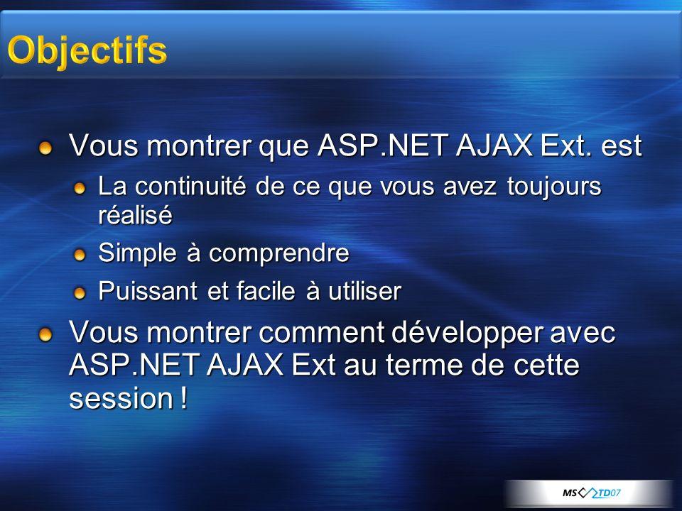 Vous montrer que ASP.NET AJAX Ext.