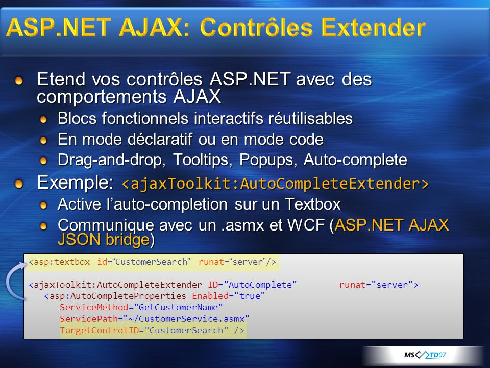 Etend vos contrôles ASP.NET avec des comportements AJAX Blocs fonctionnels interactifs réutilisables En mode déclaratif ou en mode code Drag-and-drop, Tooltips, Popups, Auto-complete Exemple: Exemple: Active lauto-completion sur un Textbox Communique avec un.asmx et WCF (ASP.NET AJAX JSON bridge) <asp:AutoCompleteProperties Enabled= true ServiceMethod= GetCustomerName ServicePath= ~/CustomerService.asmx TargetControlID= CustomerSearch /> <asp:AutoCompleteProperties Enabled= true ServiceMethod= GetCustomerName ServicePath= ~/CustomerService.asmx TargetControlID= CustomerSearch />