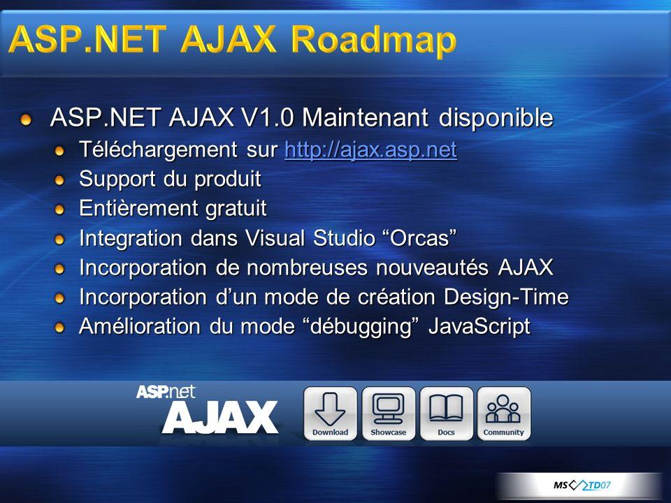 ASP.NET AJAX V1.0 Maintenant disponible Téléchargement sur http://ajax.asp.net http://ajax.asp.net Support du produit Entièrement gratuit Integration dans Visual Studio Orcas Incorporation de nombreuses nouveautés AJAX Incorporation dun mode de création Design-Time Amélioration du mode débugging JavaScript