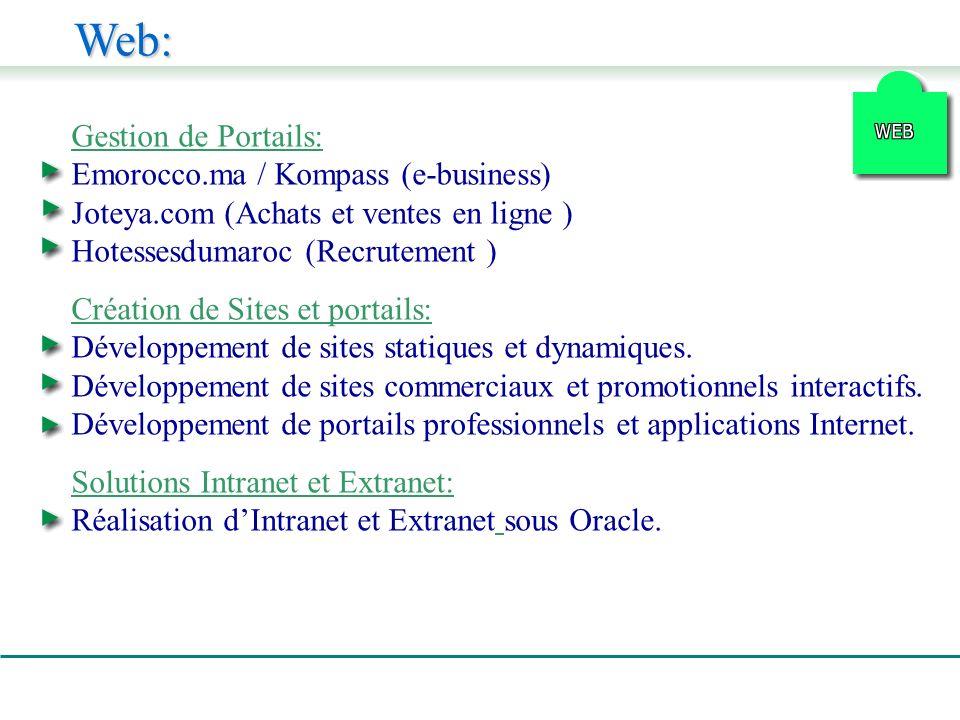 Web: Gestion de Portails: Emorocco.ma / Kompass (e-business) Joteya.com (Achats et ventes en ligne ) Hotessesdumaroc (Recrutement ) Création de Sites et portails: Développement de sites statiques et dynamiques.