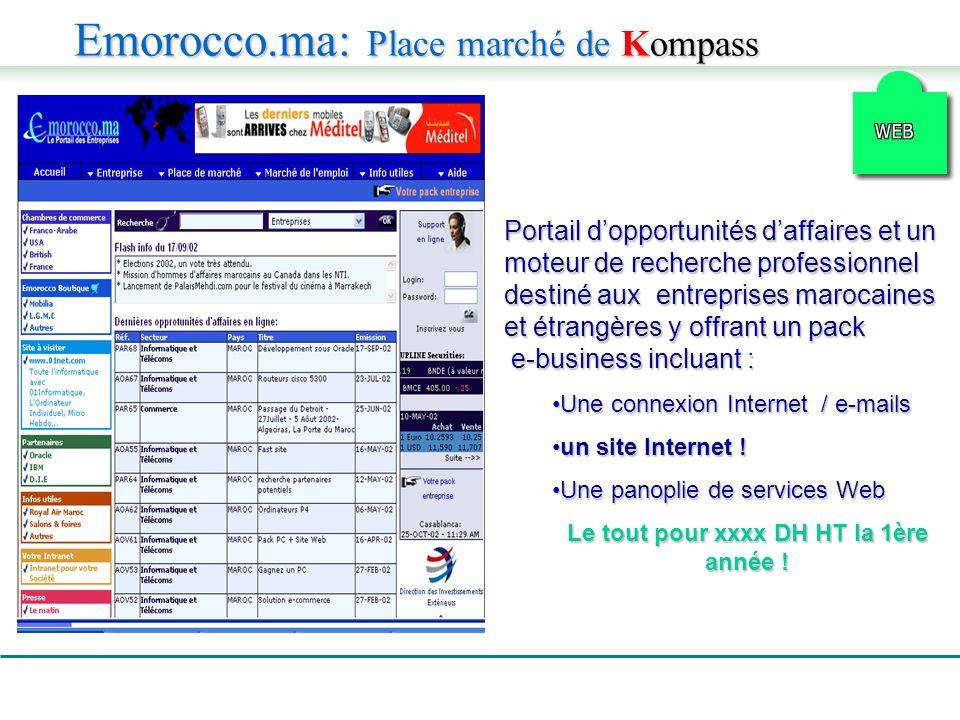 Portail dopportunités daffaires et un moteur de recherche professionnel destiné aux entreprises marocaines et étrangères y offrant un pack e-business incluant : Une connexion Internet / e-mailsUne connexion Internet / e-mails un site Internet !un site Internet .