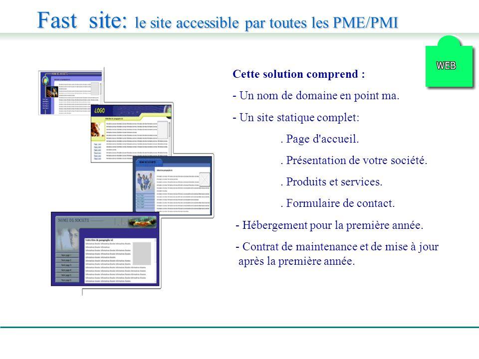 Fast site: le site accessible par toutes les PME/PMI Cette solution comprend : - Un nom de domaine en point ma.