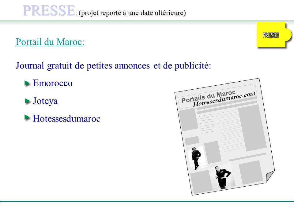 PRESSE : (projet reporté à une date ultérieure) Portail du Maroc: Journal gratuit de petites annonces et de publicité: Emorocco Joteya Hotessesdumaroc Portails du Maroc Hotessesdumaroc.com