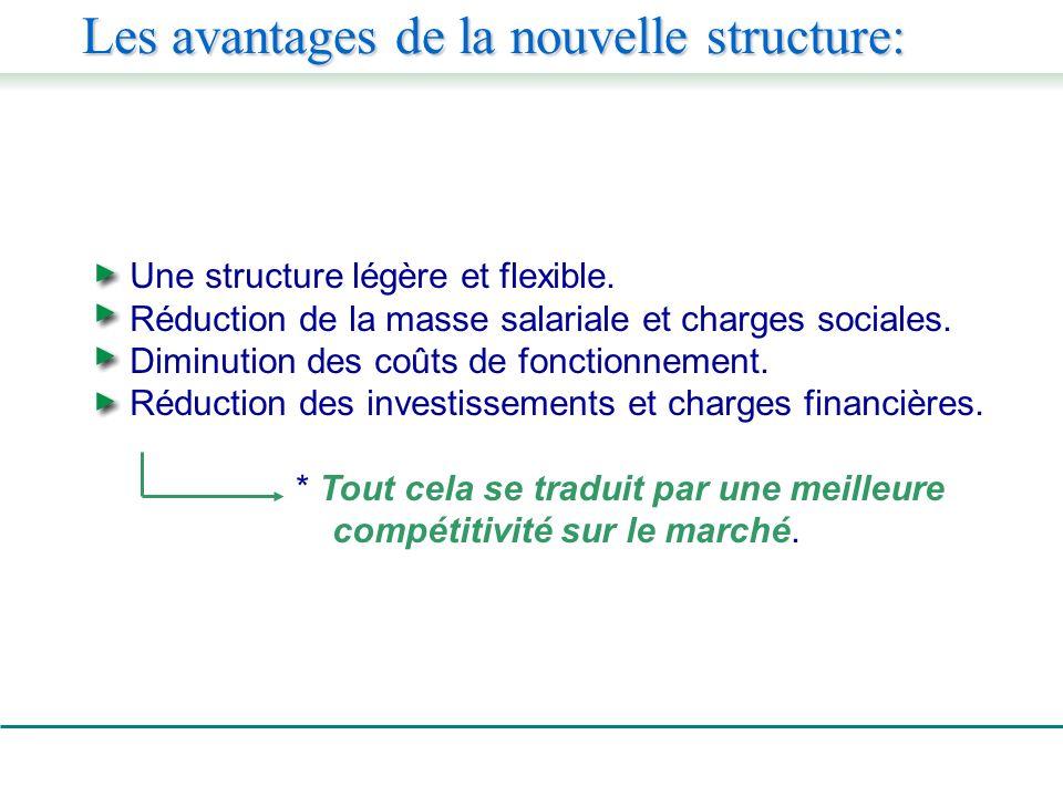 Une structure légère et flexible. Réduction de la masse salariale et charges sociales.