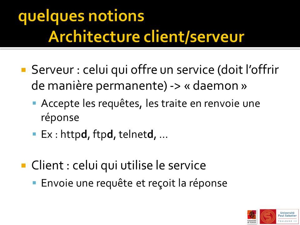 Serveur : celui qui offre un service (doit loffrir de manière permanente) -> « daemon » Accepte les requêtes, les traite en renvoie une réponse Ex : httpd, ftpd, telnetd, … Client : celui qui utilise le service Envoie une requête et reçoit la réponse