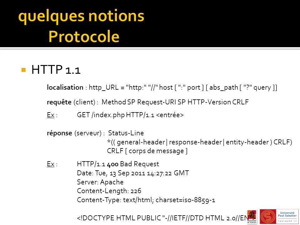 HTTP 1.1 localisation : http_URL = http: // host [ : port ] [ abs_path [ ? query ]] requête (client) : Method SP Request-URI SP HTTP-Version CRLF Ex : GET /index.php HTTP/1.1 réponse (serveur) : Status-Line *(( general-header | response-header | entity-header ) CRLF) CRLF [ corps de message ] Ex : HTTP/1.1 400 Bad Request Date: Tue, 13 Sep 2011 14:27:22 GMT Server: Apache Content-Length: 226 Content-Type: text/html; charset=iso-8859-1