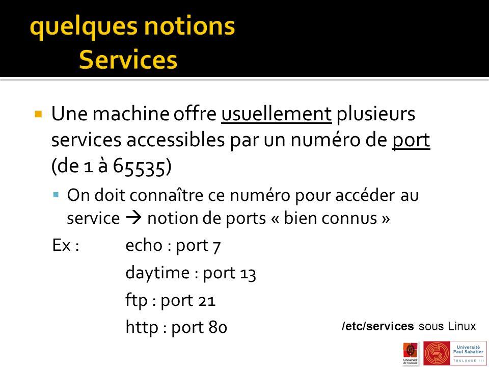 Une machine offre usuellement plusieurs services accessibles par un numéro de port (de 1 à 65535) On doit connaître ce numéro pour accéder au service notion de ports « bien connus » Ex : echo : port 7 daytime : port 13 ftp : port 21 http : port 80 /etc/services sous Linux