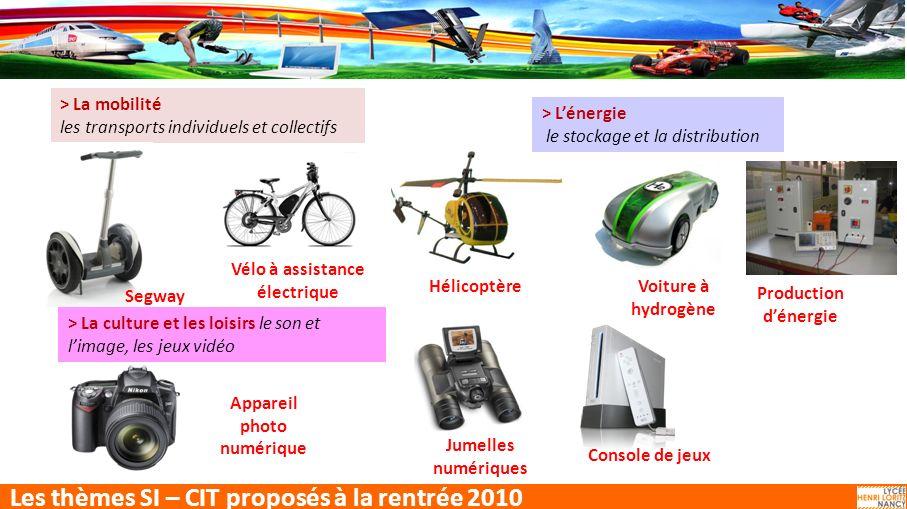 > La mobilité les transports individuels et collectifs CIT-SI Les thèmes SI – CIT proposés à la rentrée 2010 Segway Hélicoptère > Lénergie le stockage
