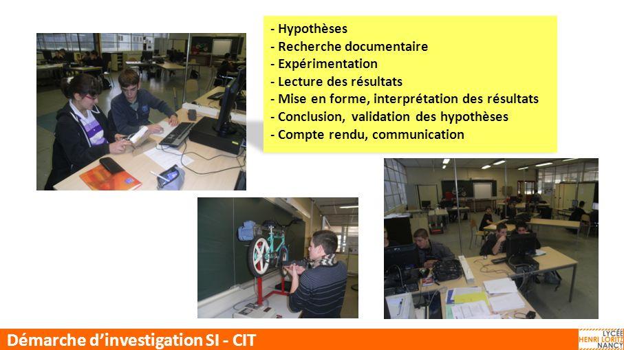 CIT-SI Démarche dinvestigation SI - CIT - Hypothèses - Recherche documentaire - Expérimentation - Lecture des résultats - Mise en forme, interprétatio