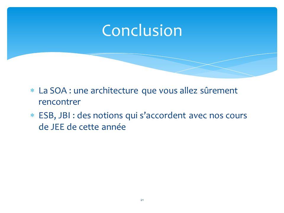 La SOA : une architecture que vous allez sûrement rencontrer ESB, JBI : des notions qui saccordent avec nos cours de JEE de cette année Conclusion 21