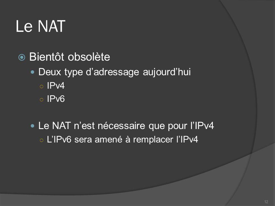 Le NAT Bientôt obsolète Deux type dadressage aujourdhui IPv4 IPv6 Le NAT nest nécessaire que pour lIPv4 LIPv6 sera amené à remplacer lIPv4 12