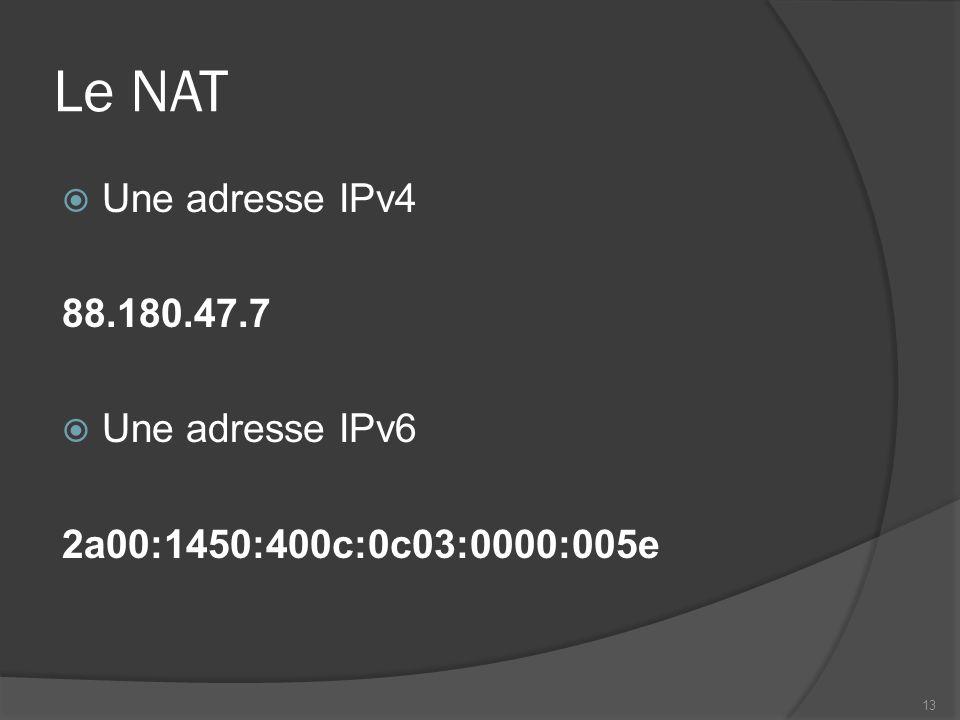 Le NAT Une adresse IPv4 88.180.47.7 Une adresse IPv6 2a00:1450:400c:0c03:0000:005e 13