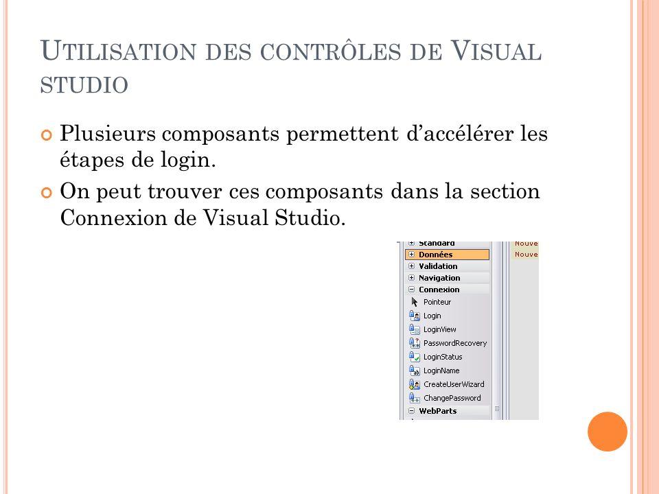 U TILISATION DES CONTRÔLES DE V ISUAL STUDIO Plusieurs composants permettent daccélérer les étapes de login. On peut trouver ces composants dans la se