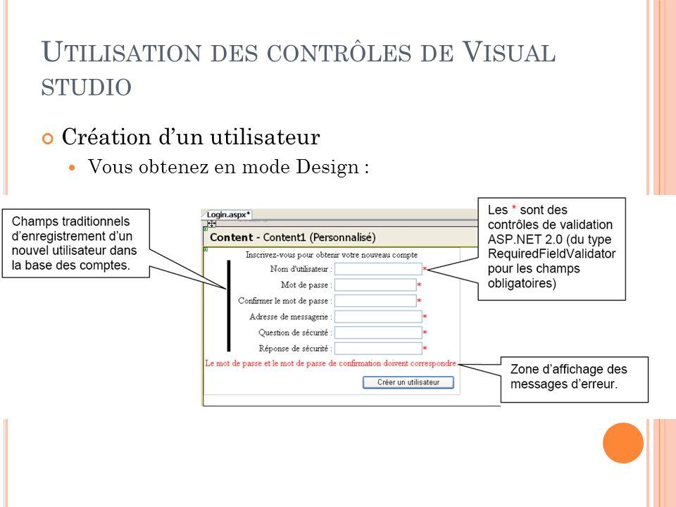U TILISATION DES CONTRÔLES DE V ISUAL STUDIO Création dun utilisateur Vous obtenez en mode Design :