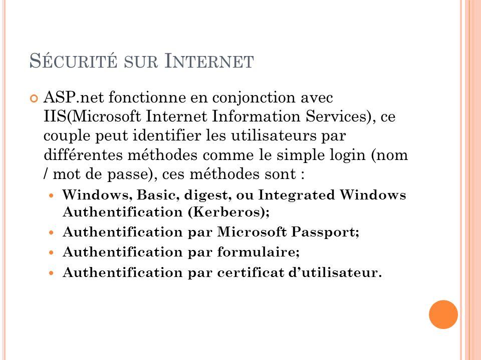 S ÉCURITÉ SUR I NTERNET ASP.net fonctionne en conjonction avec IIS(Microsoft Internet Information Services), ce couple peut identifier les utilisateur