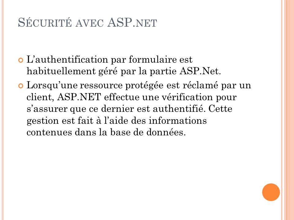 Lauthentification par formulaire est habituellement géré par la partie ASP.Net. Lorsquune ressource protégée est réclamé par un client, ASP.NET effect