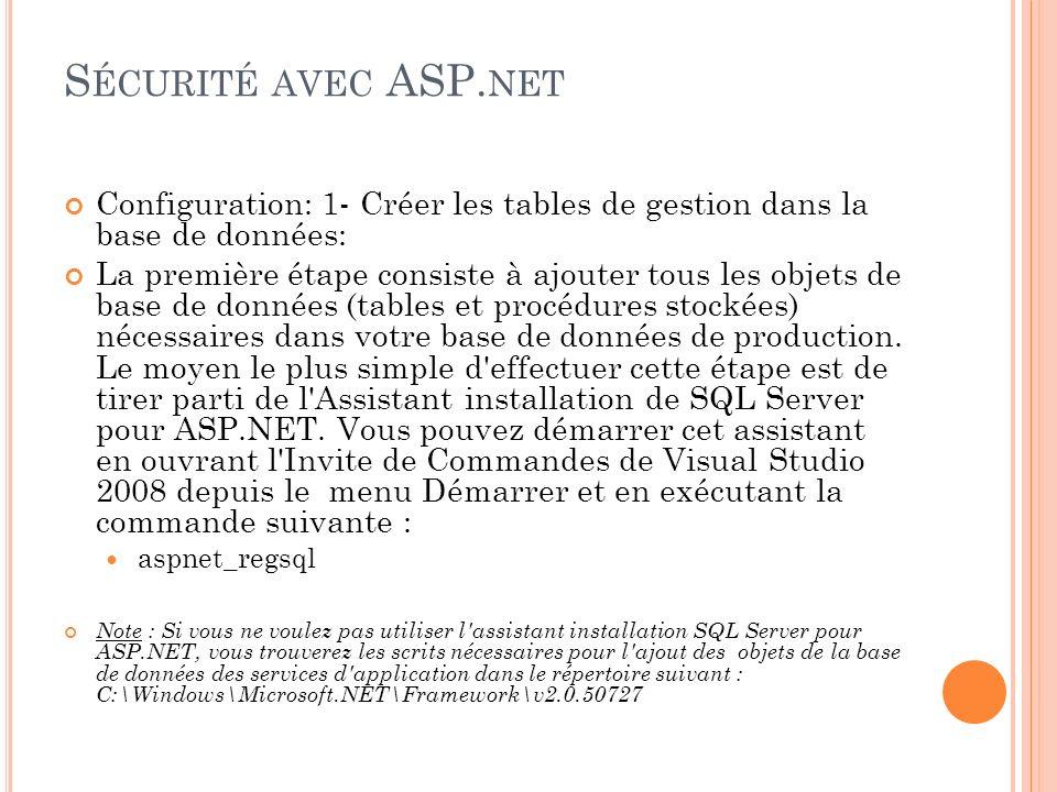 S ÉCURITÉ AVEC ASP. NET Configuration: 1- Créer les tables de gestion dans la base de données: La première étape consiste à ajouter tous les objets de