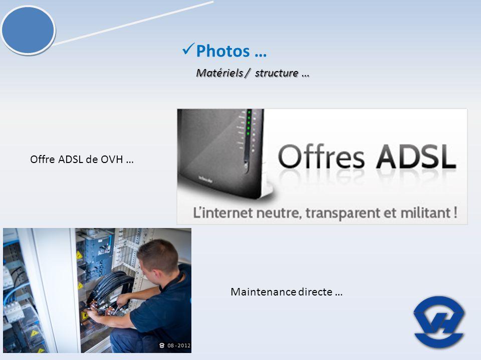 Matériels / structure … Photos … Offre ADSL de OVH … Maintenance directe …