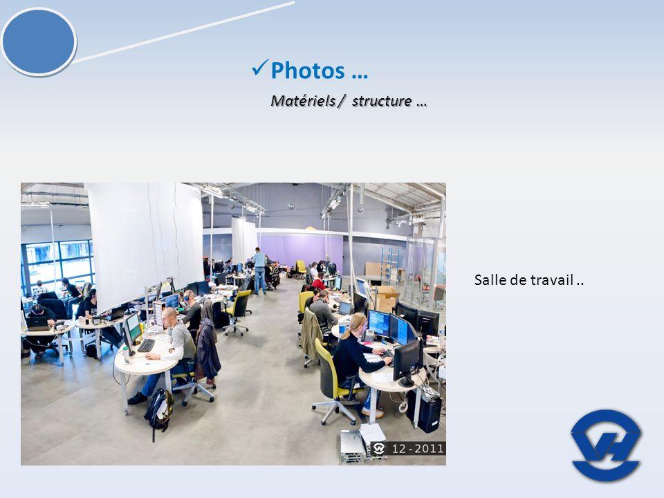 Matériels / structure … Photos … Salle de travail..