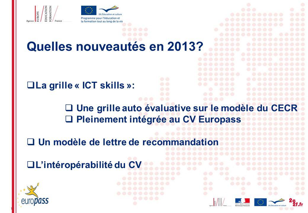 10 La grille « ICT skills »: Une grille auto évaluative sur le modèle du CECR Pleinement intégrée au CV Europass Un modèle de lettre de recommandation Lintéropérabilité du CV Quelles nouveautés en 2013?