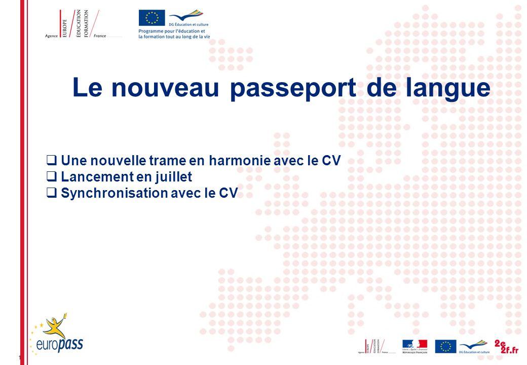 12 Une nouvelle trame en harmonie avec le CV Lancement en juillet Synchronisation avec le CV Le nouveau passeport de langue