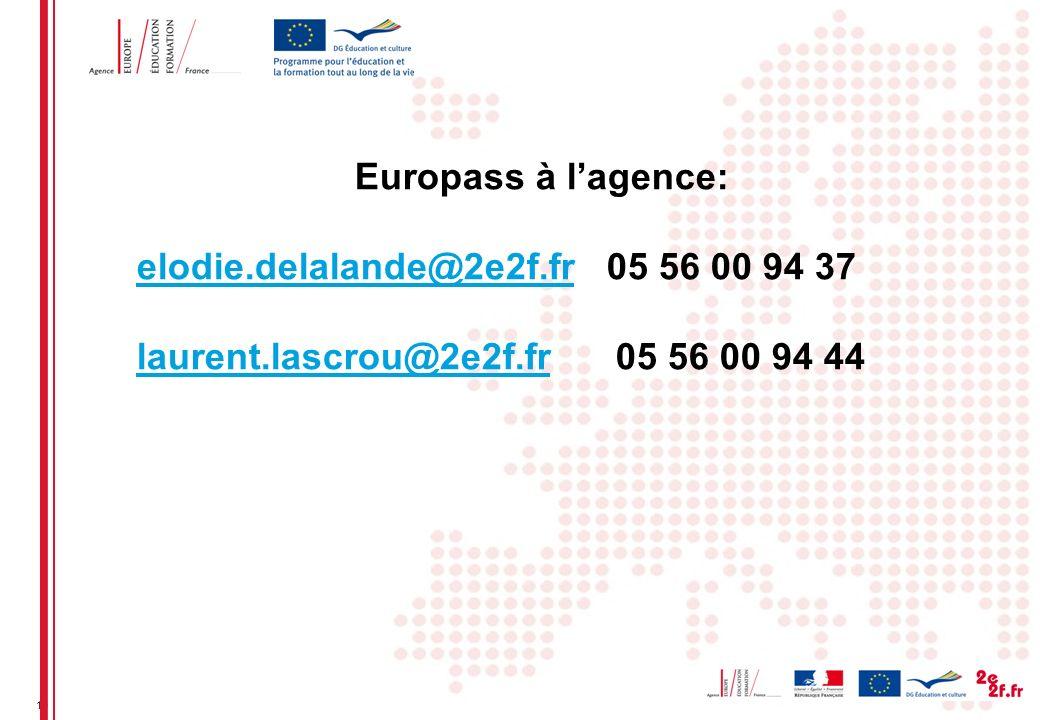 19 Europass à lagence: elodie.delalande@2e2f.frelodie.delalande@2e2f.fr 05 56 00 94 37 laurent.lascrou@2e2f.frlaurent.lascrou@2e2f.fr 05 56 00 94 44