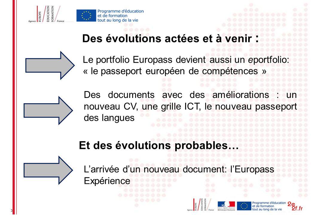 3 Le portfolio Europass devient aussi un eportfolio: « le passeport européen de compétences » Des documents avec des améliorations : un nouveau CV, une grille ICT, le nouveau passeport des langues Des évolutions actées et à venir : Et des évolutions probables… Larrivée dun nouveau document: lEuropass Expérience