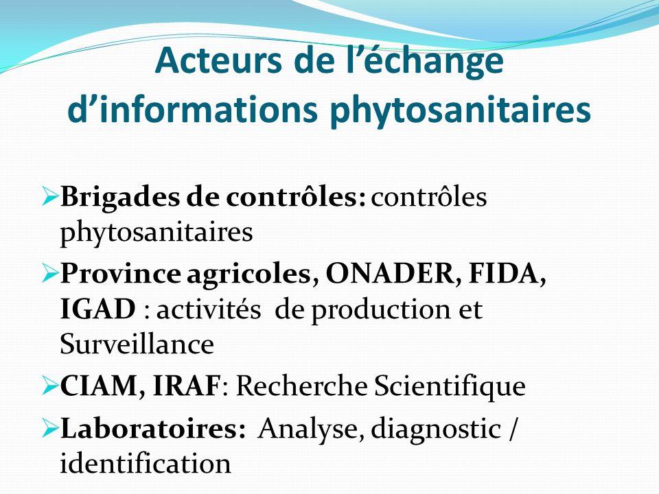 Acteurs de léchange dinformations phytosanitaires Brigades de contrôles: contrôles phytosanitaires Province agricoles, ONADER, FIDA, IGAD : activités