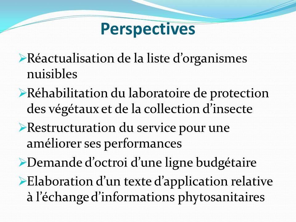 Perspectives Réactualisation de la liste dorganismes nuisibles Réhabilitation du laboratoire de protection des végétaux et de la collection dinsecte R