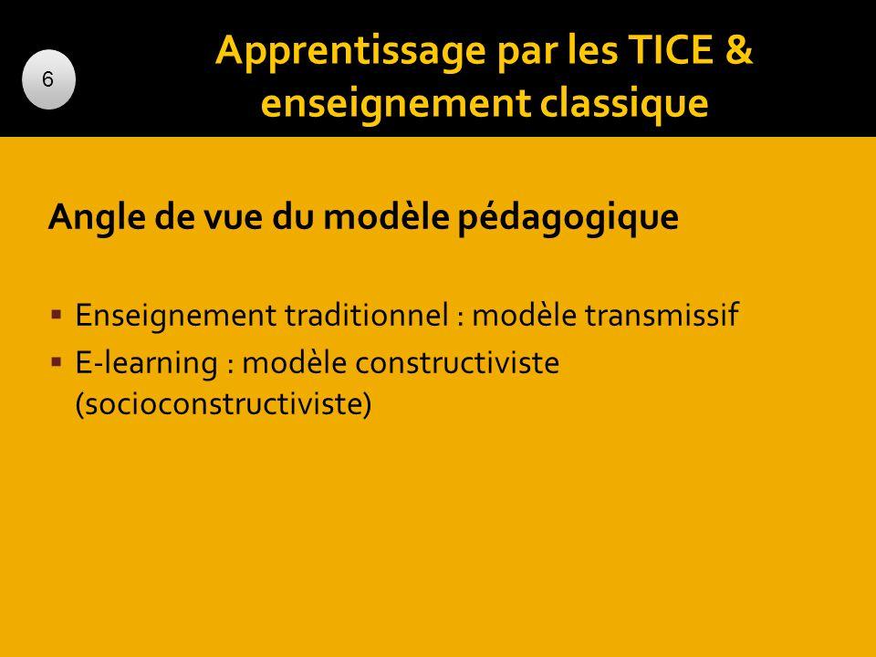 Apprentissage par les TICE & enseignement classique Angle de vue du modèle pédagogique Enseignement traditionnel : modèle transmissif E-learning : mod