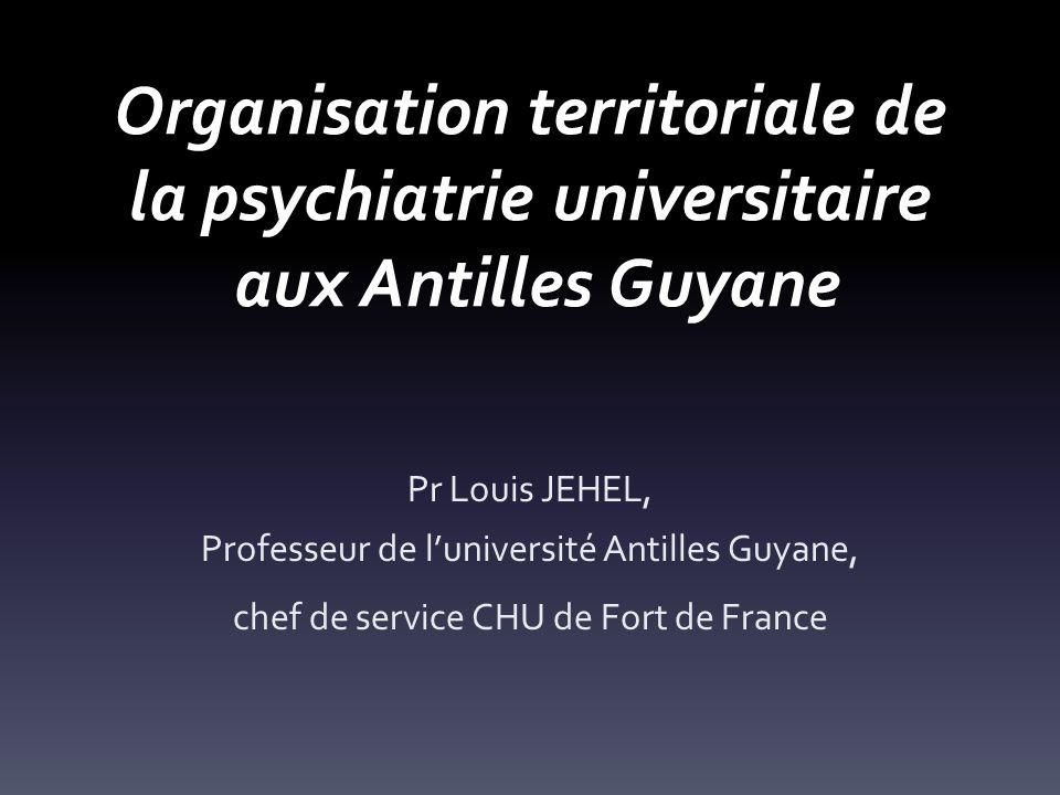 Organisation territoriale de la psychiatrie universitaire aux Antilles Guyane Pr Louis JEHEL, Professeur de luniversité Antilles Guyane, chef de service CHU de Fort de France