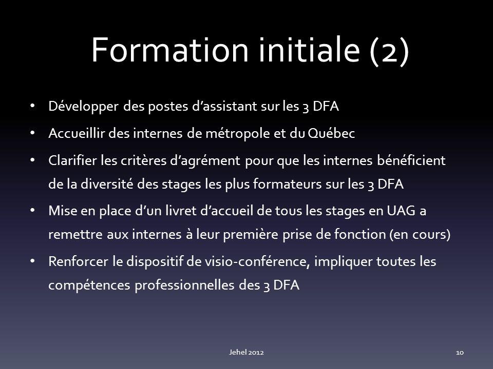 Formation initiale (2) Développer des postes dassistant sur les 3 DFA Accueillir des internes de métropole et du Québec Clarifier les critères dagrément pour que les internes bénéficient de la diversité des stages les plus formateurs sur les 3 DFA Mise en place dun livret daccueil de tous les stages en UAG a remettre aux internes à leur première prise de fonction (en cours) Renforcer le dispositif de visio-conférence, impliquer toutes les compétences professionnelles des 3 DFA Jehel 201210