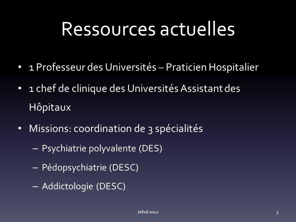 Ressources actuelles 1 Professeur des Universités – Praticien Hospitalier 1 chef de clinique des Universités Assistant des Hôpitaux Missions: coordination de 3 spécialités – Psychiatrie polyvalente (DES) – Pédopsychiatrie (DESC) – Addictologie (DESC) Jehel 20123