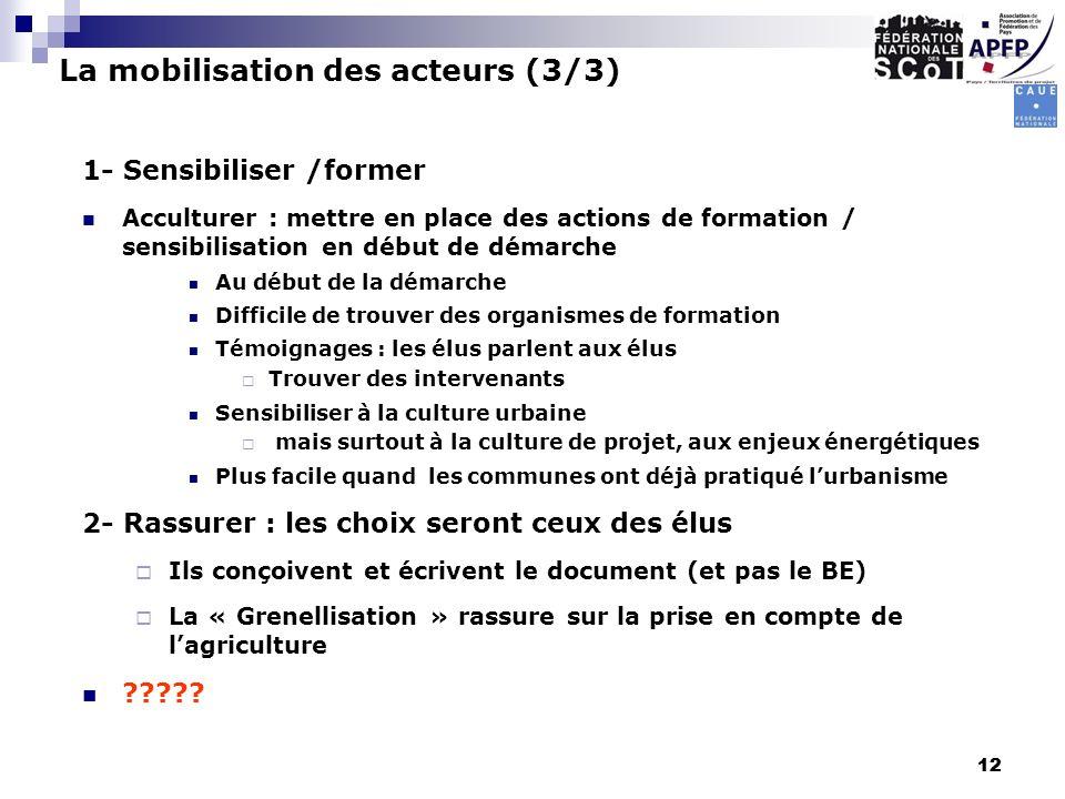 12 1- Sensibiliser /former Acculturer : mettre en place des actions de formation / sensibilisation en début de démarche Au début de la démarche Diffic