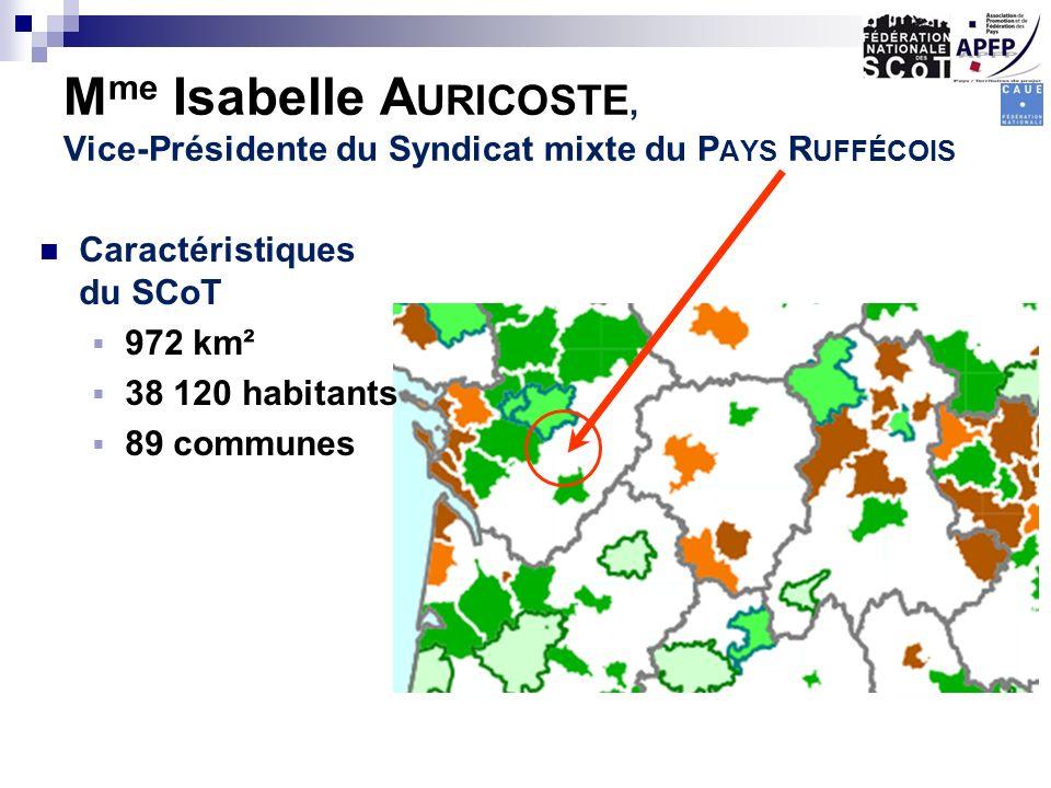 M me Isabelle A URICOSTE, Vice-Présidente du Syndicat mixte du P AYS R UFFÉCOIS Caractéristiques du SCoT 972 km² 38 120 habitants 89 communes