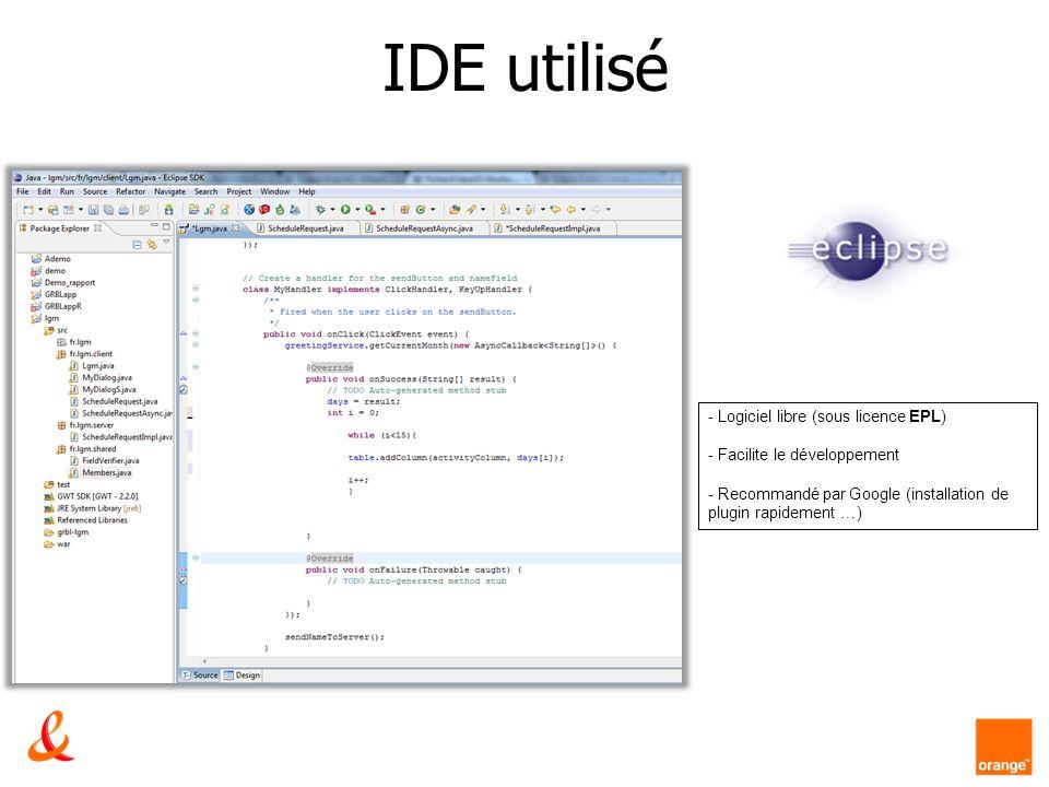 IDE utilisé - Logiciel libre (sous licence EPL) - Facilite le développement - Recommandé par Google (installation de plugin rapidement …)