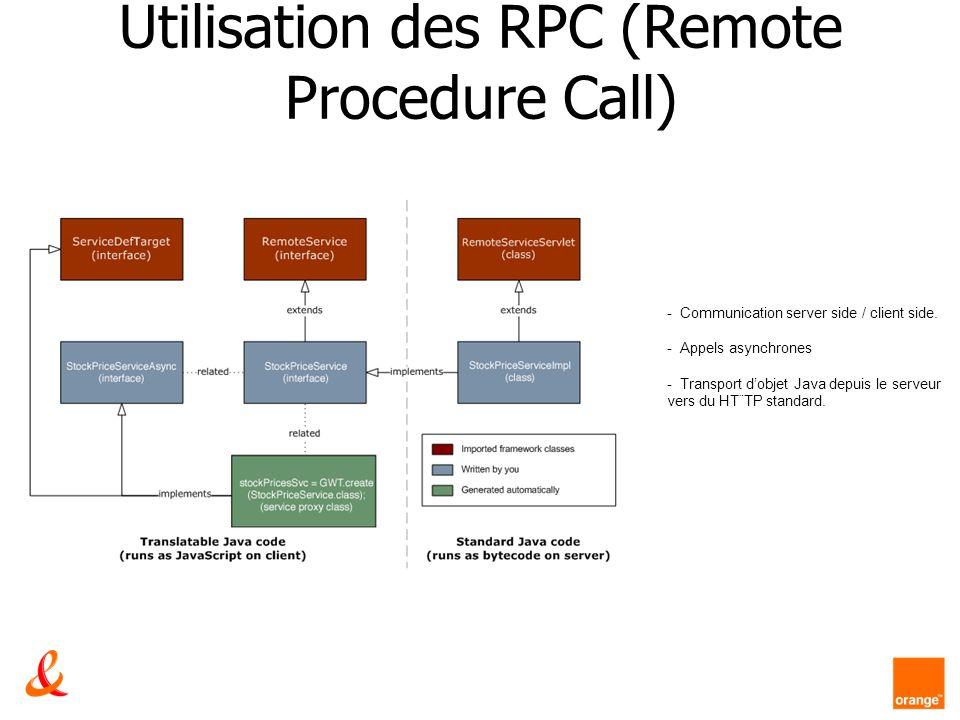 Utilisation des RPC (Remote Procedure Call) - Communication server side / client side. - Appels asynchrones - Transport dobjet Java depuis le serveur