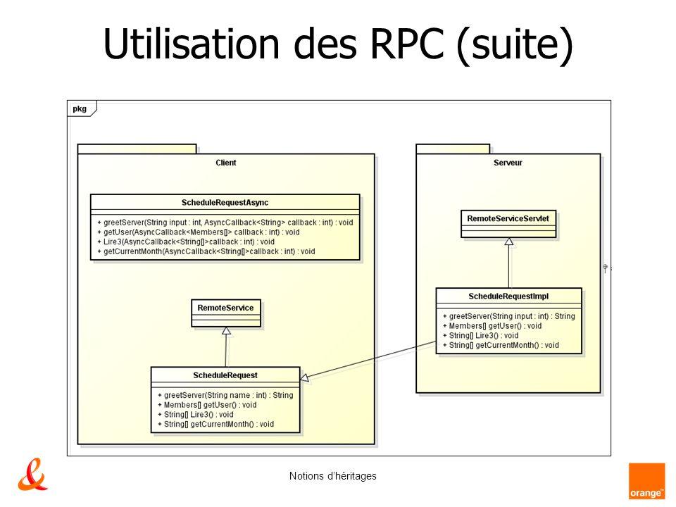 Utilisation des RPC (suite) Notions dhéritages