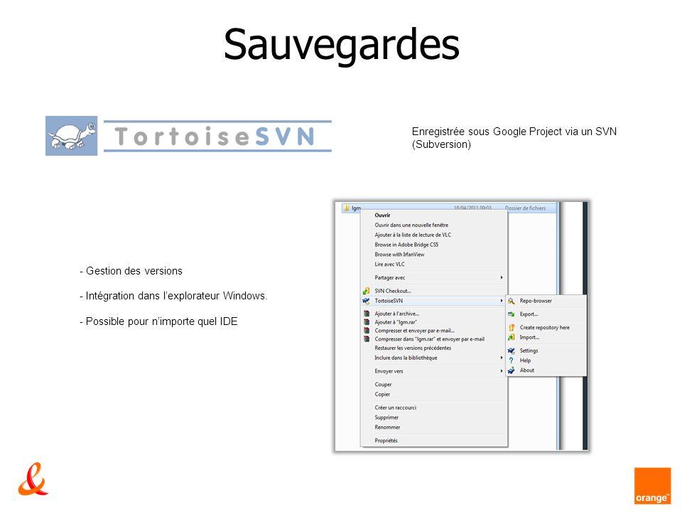 Sauvegardes Enregistrée sous Google Project via un SVN (Subversion) - Gestion des versions - Intégration dans lexplorateur Windows. - Possible pour ni
