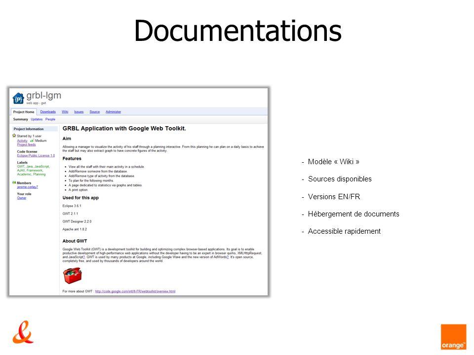 Documentations - Modèle « Wiki » - Sources disponibles - Versions EN/FR - Hébergement de documents - Accessible rapidement
