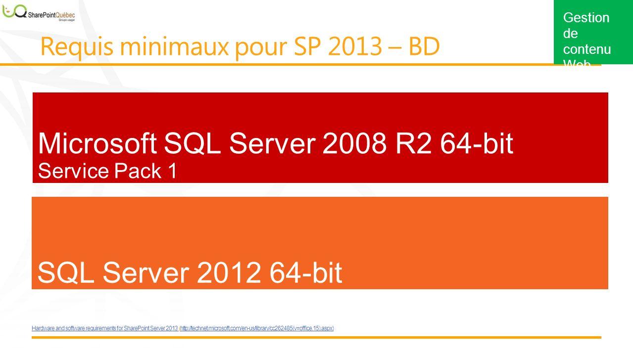 Gestion de contenu Web Microsoft SQL Server 2008 R2 64-bit Service Pack 1 SQL Server 2012 64-bit