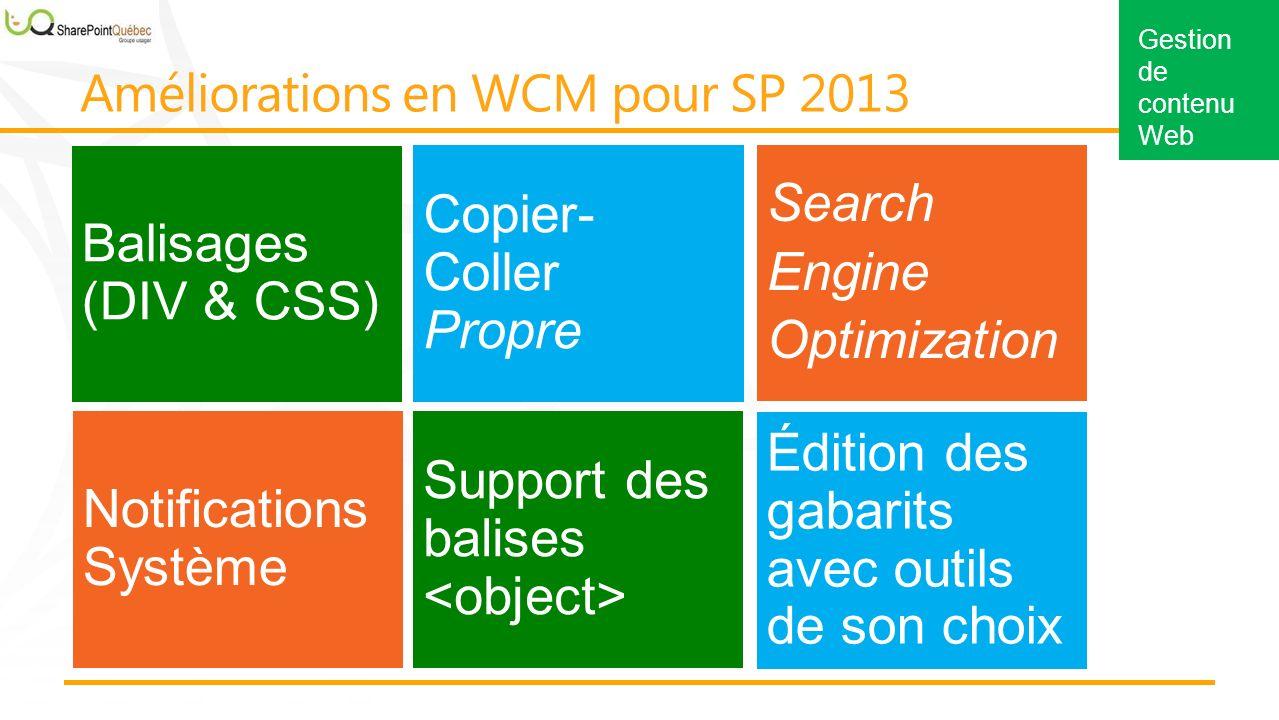 Balisages (DIV & CSS) Copier- Coller Propre Notifications Système Support des balises Search Engine Optimization Édition des gabarits avec outils de son choix