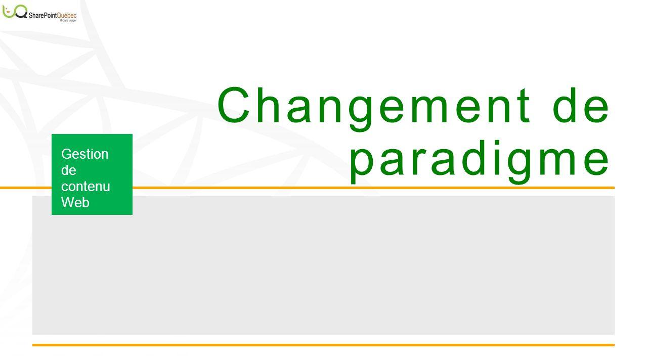 Changement de paradigme Gestion de contenu Web