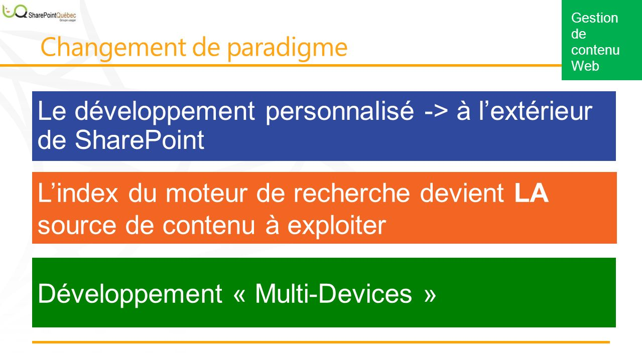 Le développement personnalisé -> à lextérieur de SharePoint Lindex du moteur de recherche devient LA source de contenu à exploiter Développement « Multi-Devices »