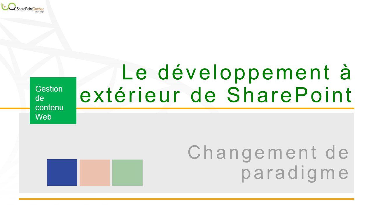Le développement à lextérieur de SharePoint Gestion de contenu Web Changement de paradigme