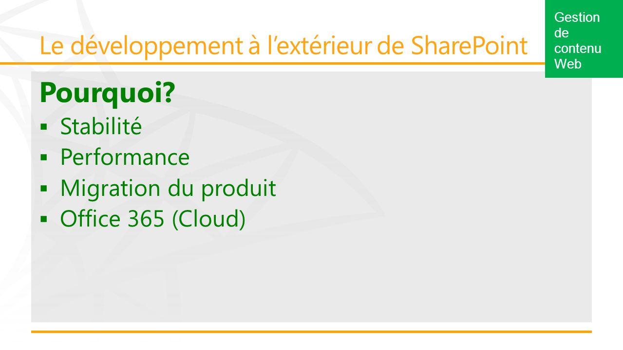 Pourquoi? Stabilité Performance Migration du produit Office 365 (Cloud) Gestion de contenu Web
