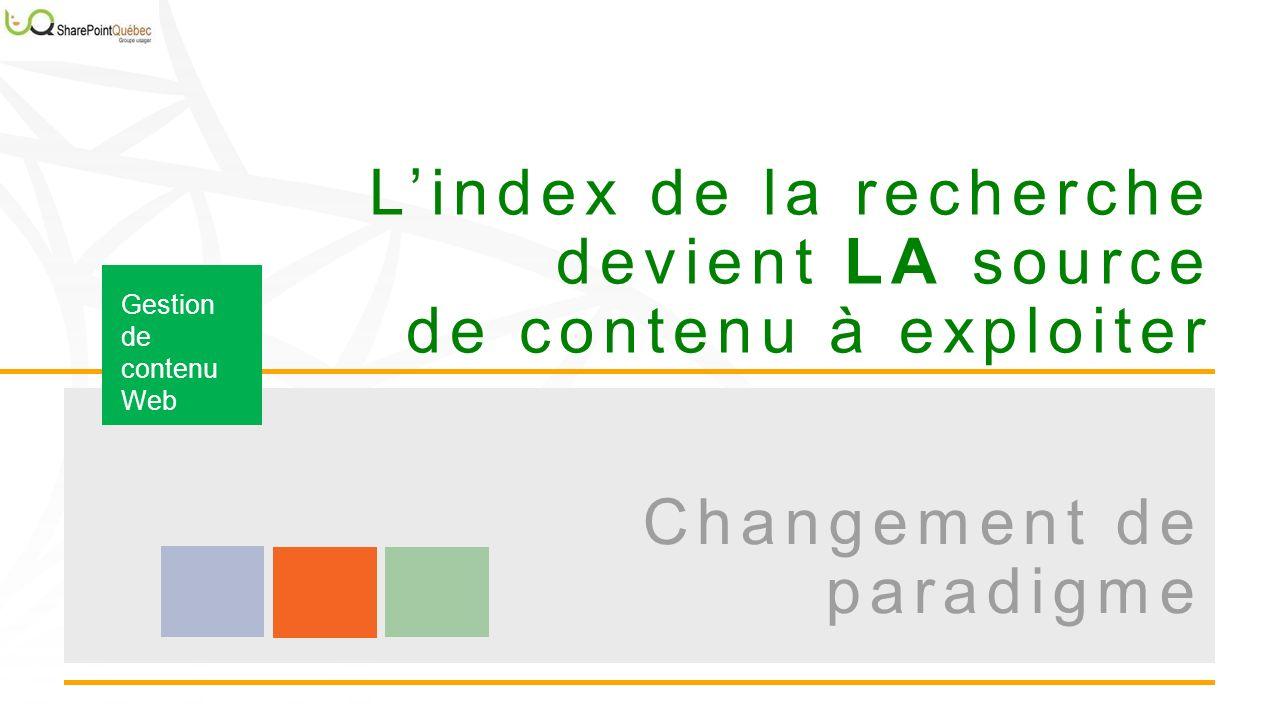 Lindex de la recherche devient LA source de contenu à exploiter Gestion de contenu Web Changement de paradigme